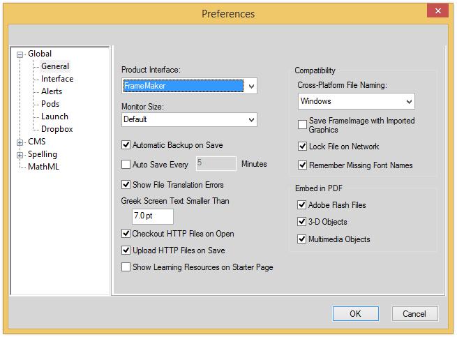 FrameMaker 12 Dropbox preferences