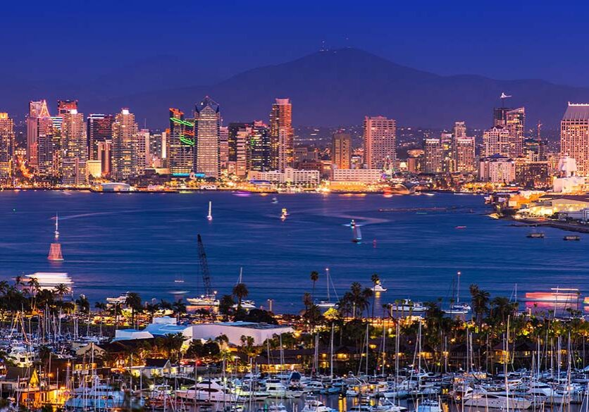 Scenic San Diego Panorama at Night. Shelter Island Yacht Basin,  North San Diego Bay, Americas Cup Harbor and the San Diego City Skyline.